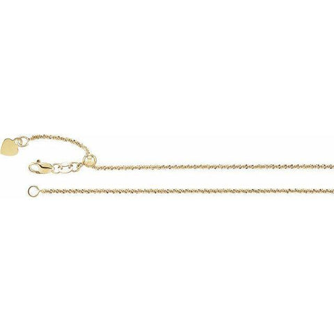 "Adjustable Fashion Chain 22"" - 14K Yellow Gold"