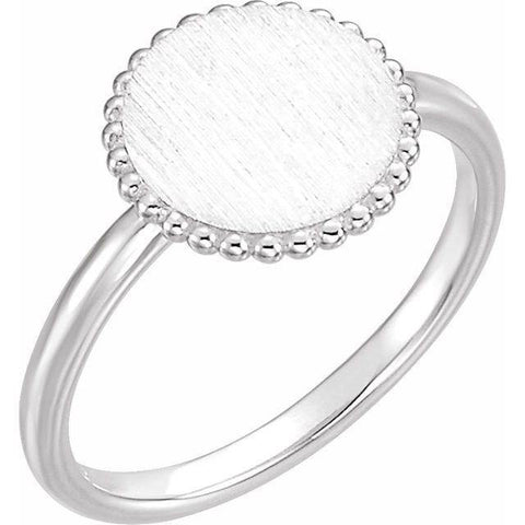 Beaded Engravable Ring