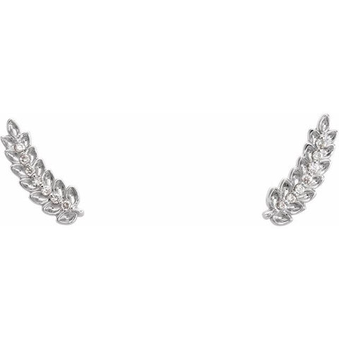 Leaf Ear Climber Diamond Earrings .03 ctw