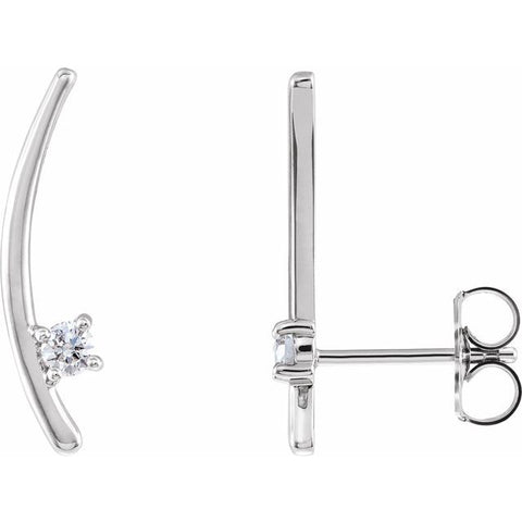 Diamond Ear Climber Earrings 1/8 ctw