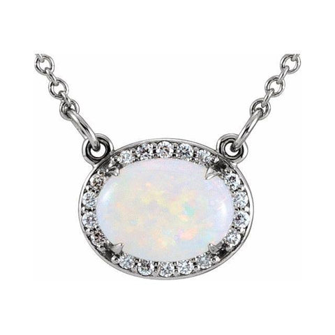 "Opal & Diamond Halo .07 ctw Necklace 16.5"" - Henry D Jewelry"