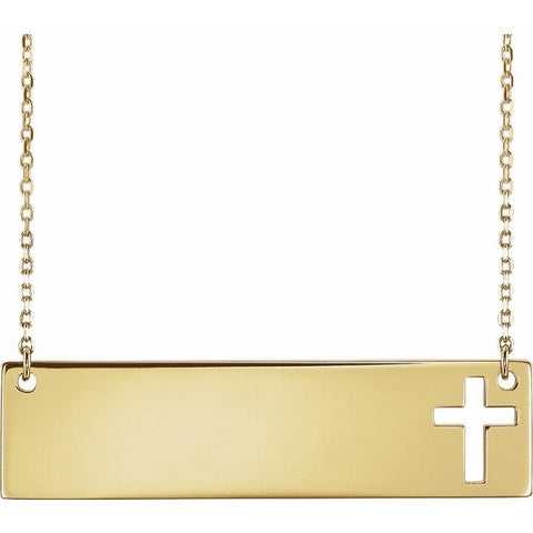 Pierced Cross Engravable Bar Necklace 16-18""