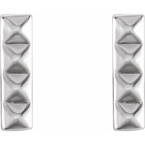 Pyramid Bar Earrings - Sterling Silver
