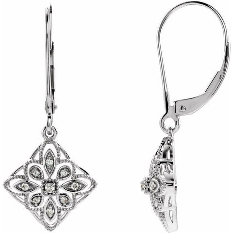 Diamond Filigree Earrings 1/10 ctw