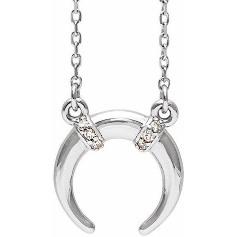 "Diamond Crescent Necklace .03 ctw 16-18"" - Henry D Jewelry"