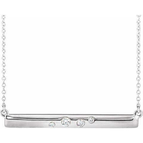 "Diamond Bar Necklace 1/10 ctw 16-18"" - Henry D Jewelry"