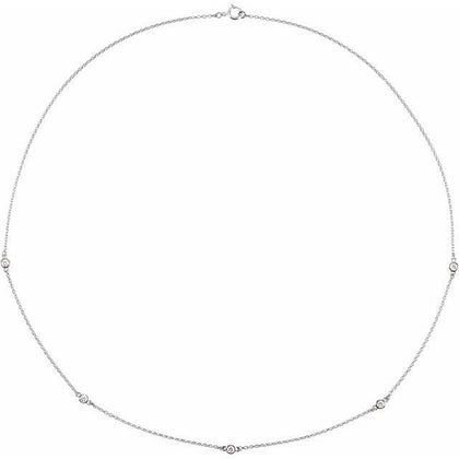 "Sterling Silver Diamond Station 1/4 ctw Necklace 18"" - Henry D Jewelry"