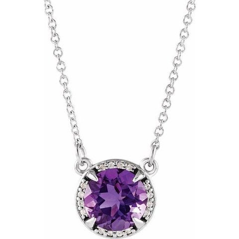 "Amethyst & Diamond Halo .05 ctw Necklace 16"" - Henry D Jewelry"