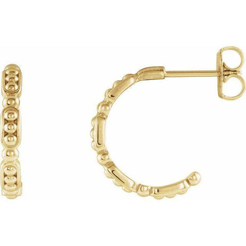 Beaded Hoop Earrings - 14K Yellow Gold