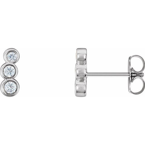 Petite Diamond Ear Climber Earrings 1/6 ctw