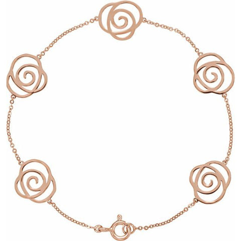 "Floral-Inspired Bracelet 7"" - 14K Rose Gold"