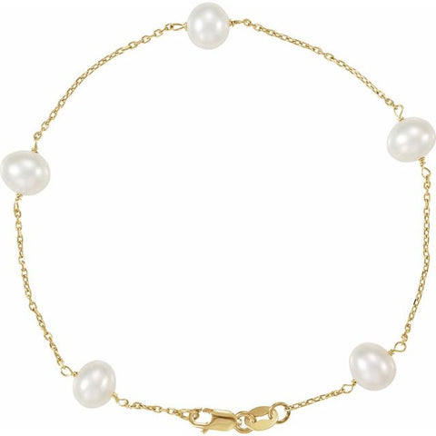 "Freshwater Pearl Tincup Bracelet 7"" - 14K Yellow Gold"