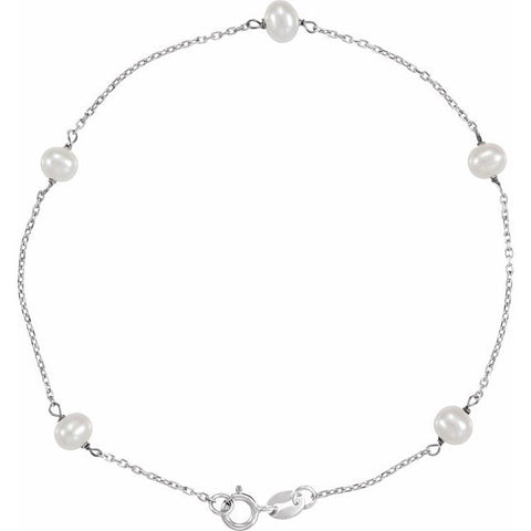 "Freshwater Pearl Tincup Bracelet 7"" - 14K White Gold"