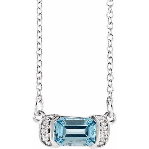 "Aquamarine & Diamond Bar .02 ctw Necklace 16"" - Henry D Jewelry"