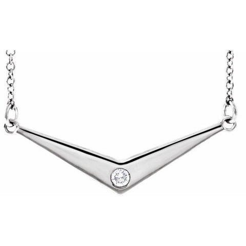 "Diamond ""V"" Necklace .03 ctw 18"" - Henry D Jewelry"