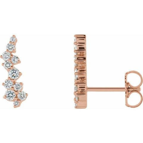 Diamond Ear Climber Earrings 3/8 ctw