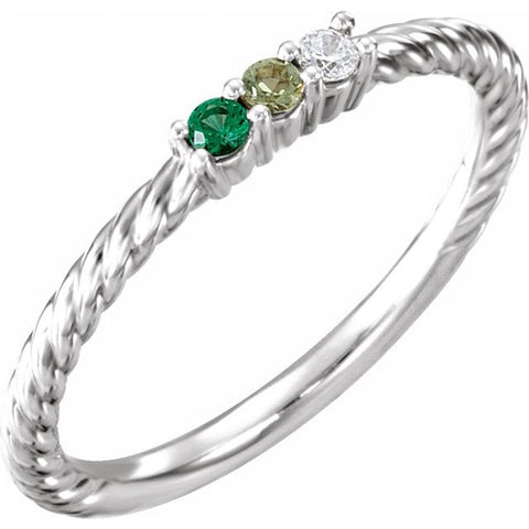 Family Birthstone Rope Ring