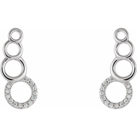 Geometric Diamond Ear Climber Earrings .06 ctw