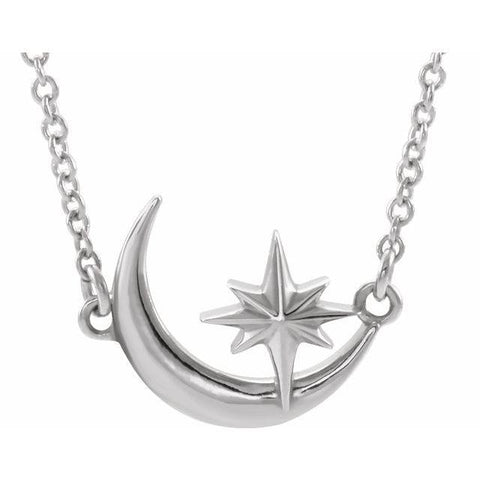 "Crescent Moon & Star Necklace 16-18"" - Henry D Jewelry"
