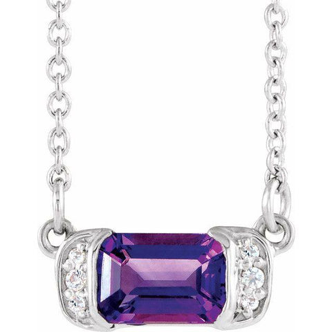 "Amethyst & Diamond Bar .02 ctw Necklace 16"" - Henry D Jewelry"