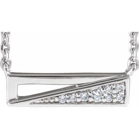 "Diamond Bar Necklace .05 ctw 18"" - Henry D Jewelry"