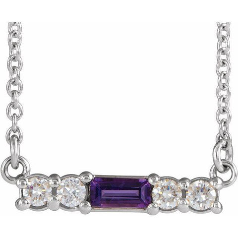 "Amethyst & Diamond Bar 1/5 ctw Necklace 18"" - Henry D Jewelry"