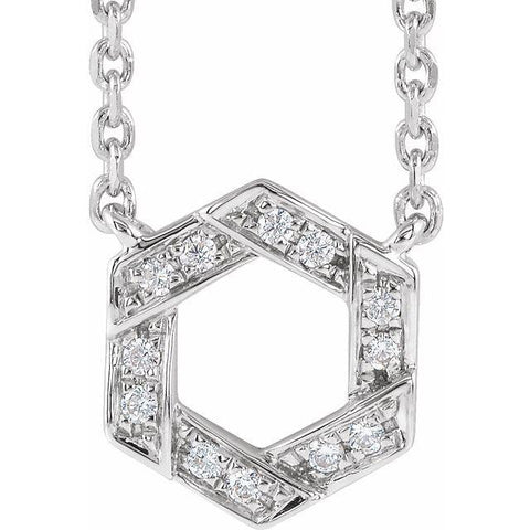 "Diamond Hexagon Necklace .06 ctw 16-18"" - Henry D Jewelry"