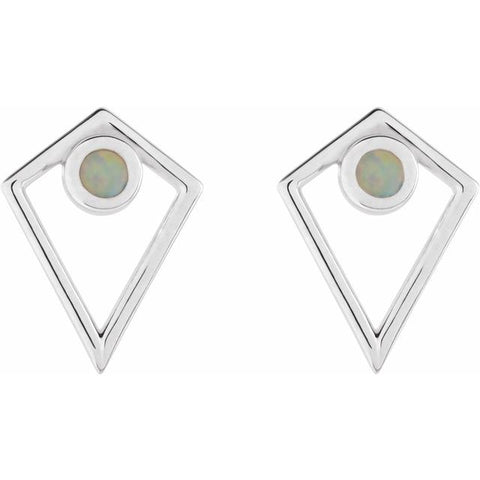 Opal Cabochon Pyramid Earrings