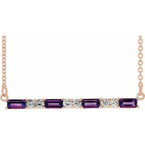 "Amethyst & Diamond Bar 1/5 ctw Necklace 16-18"" - Henry D Jewelry"