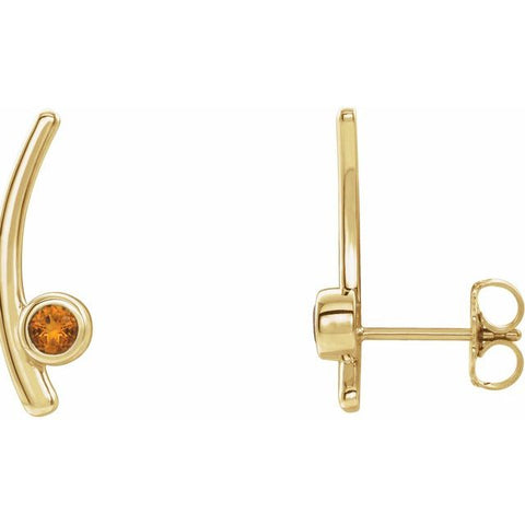 Citrine Ear Climber Earrings - 14K Yellow Gold