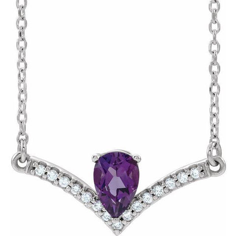 "Amethyst & Diamond .06 ctw Necklace 18"" - Henry D Jewelry"