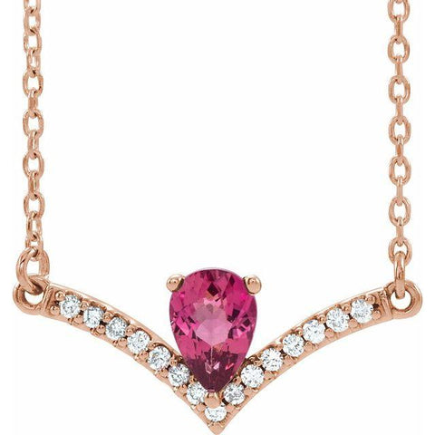 "Pink Tourmaline & Diamond .06 ctw Necklace 18"" - Henry D Jewelry"