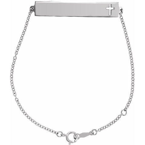 Pierced Cross Engravable Bar Bracelet
