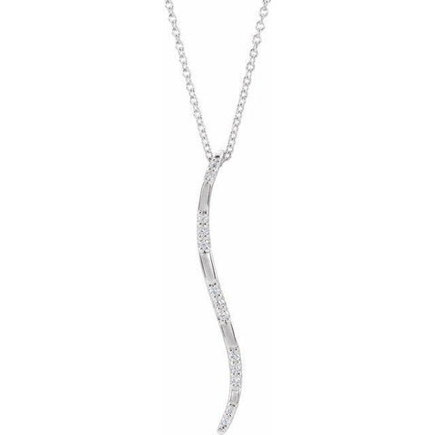 "Diamond Vertical Bar Necklace .07 ctw 16-18"" - Henry D Jewelry"