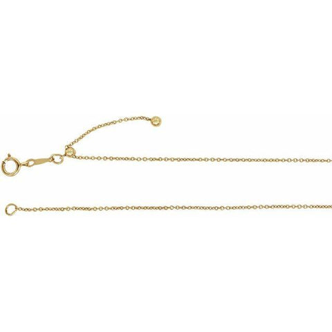 "14K Yellow Gold Filled Ajustable Cable Chain 22"" - Henry D Jewelry"