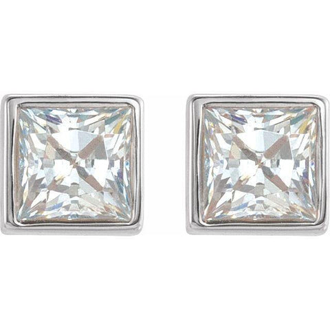 Bezel-Set Princess Cut Diamond Earrings 1/5 ctw