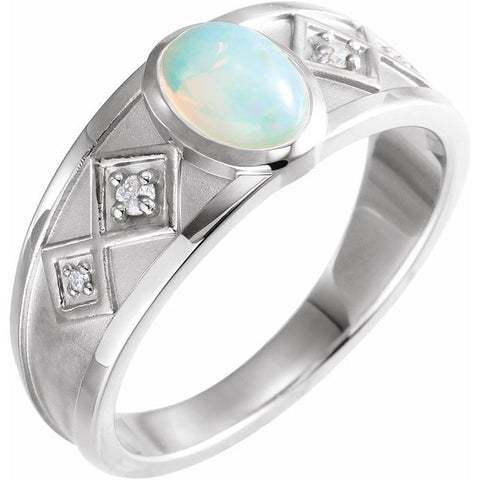 Ethiopian Opal & Diamond Ring .05 ctw