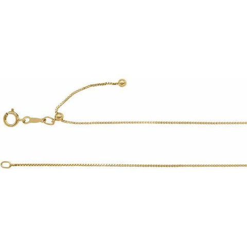 "14K Yellow Gold Filled Ajustable Box Chain 22"" - Henry D Jewelry"