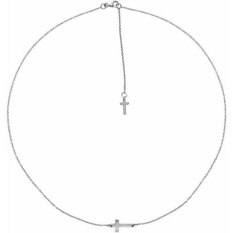 "Diamond Sideways Cross 1/10 ctw Necklace 16-18"" - Henry D Jewelry"