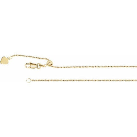 "Adjustable Rope Chain 22"" - 14K Yellow Gold"