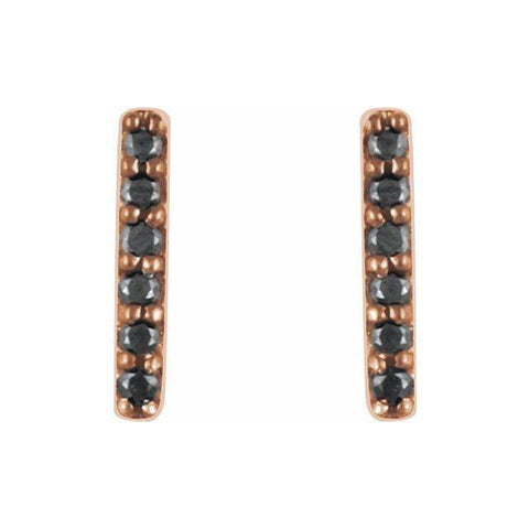 Black Diamond Bar Earrings 1/10 ctw - 14K Rose Gold