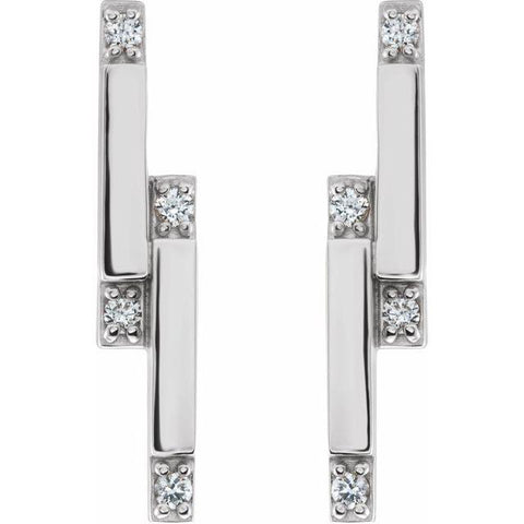 Diamond Bar Earrings 1/10 ctw - Henry D Jewelry