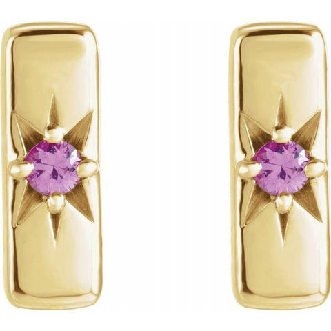 Pink Sapphire Starburst Bar Earring - Henry D Jewelry