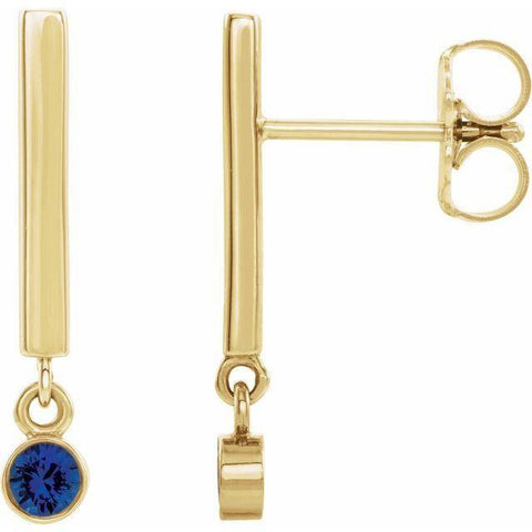Blue Sapphire Bar Dangle Earrings - 14K Yellow Gold