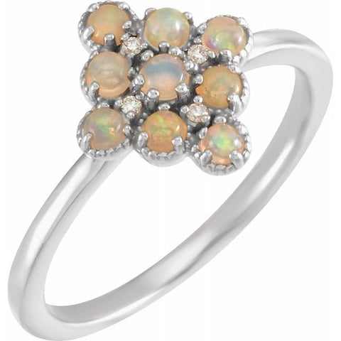 Ethiopian Opal & Diamond Ring .02 ctw