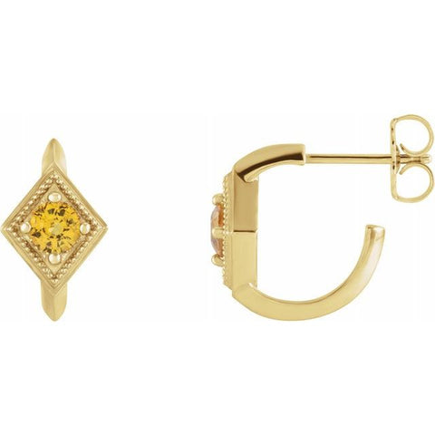 Yellow Sapphire Geometric Hoop Earrings - 14K Yellow Gold