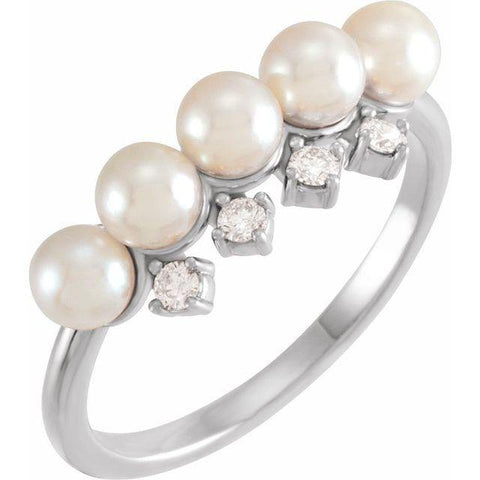 Akoya Pearl & Diamond Ring 1/8 ctw