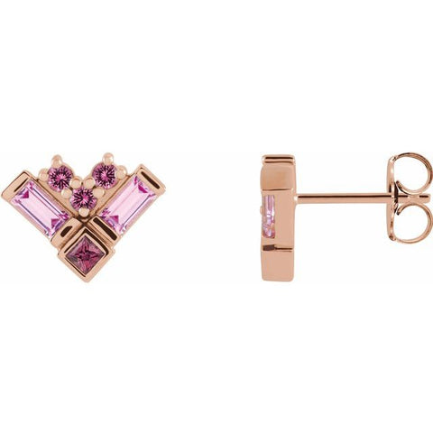 Multi Gemstone Earrings - 14K Rose Gold