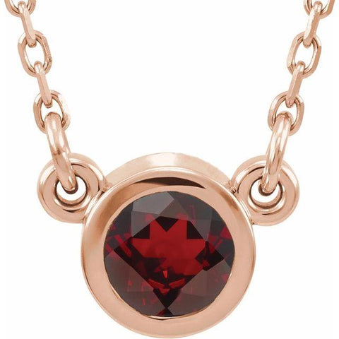 "Mozambique Garnet Solitaire Necklace 16"" - Henry D Jewelry"