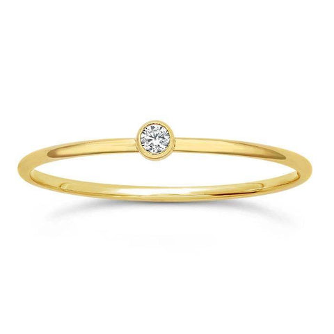 Bezel-Set CZ Stackable Ring - 14K Yellow Gold Filled